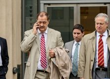 Former Massey Energy CEO Don Blankenship, left, makes his way out of the Robert C. Byrd U.S. Courthouse during a break in deliberations, Tuesday, Dec. 1, 2015, Charleston, W.Va