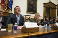 WASHINGTON, USA - DECEMBER 1: Secretary of Defense Ashton Carter and Chairman of the Joint Chiefs of Staff Gen. Joseph Dunford testify in front of the House Armed Service Committee on the U.S. strategy in Syria and Iraq in Washington, USA on December 1, 2015. (Photo by Samuel Corum/Anadolu Agency/Getty Images)