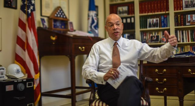 Jeh Johnson noted that his department has launched a pilot program to analyze social media accounts as part of its application process for immigration benefits. | John Shinkle/POLITICO