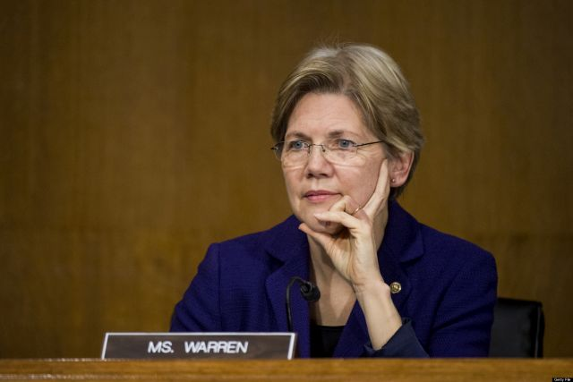 UNITED STATES - FEBRUARY 26: Sen. Elizabeth Warren, D-Mass., listens during the Senate Banking, Housing and Urban Affairs Committee hearing with Federal Reserve Chairman Ben Bernanke on Capitol Hill on Tuesday, Feb. 26, 2013. (Photo By Bill Clark/CQ Roll Call)