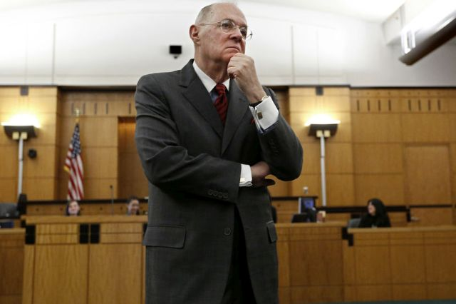Supreme Court Justice Anthony Kennedy, listens to the response to a question he posed to a high school student during his visit to the Robert T. Matsui Federal Courthouse in Sacramento, Calif., Wednesday, March 6, 2013. Kennedy was in Sacramento to attend Thursday's opening of a library named after him, visited with area high school students attending an educational program about the federal court system. Later, Kennedy told reporters that he is concerned that many politically charged issues are coming before the high court. (AP Photo/Rich Pedroncelli)