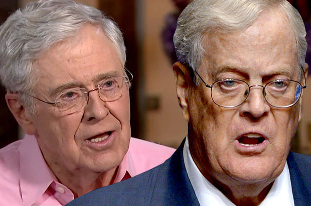 Charles and David Koch (Credit: MSNBC/AP/Phelan M. Ebenhack/Photo montage by Salon)