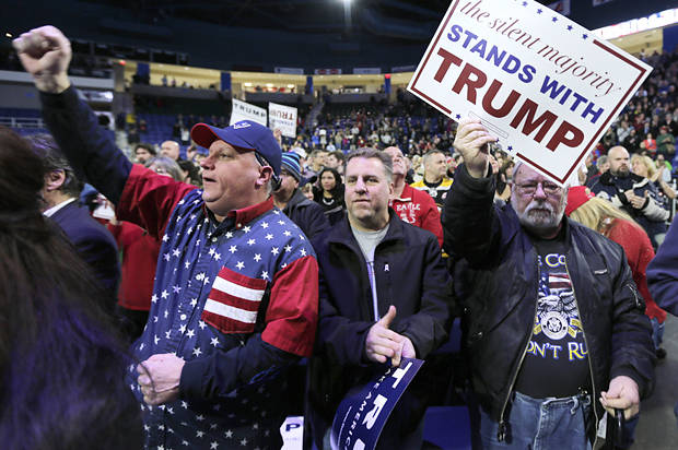 Supporters of Republican presidential candidate Donald Trump during a campaign stop at the Tsongas Center in Lowell, Mass., Monday, Jan. 4, 2016. (AP Photo/Charles Krupa)