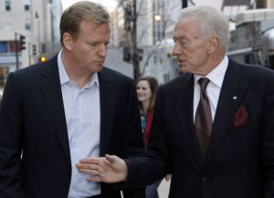 Roger Goodell, NFL commissioner, left, and Jerry Jones, owner of the Dallas Cowboys talk.