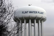 The Flint Water Plant tower is seen, Friday, Feb. 5, 2016 in Flint, Mich. Michigan Gov. Rick Snyder on Friday defended how his office responded to an email flagging a potential link between a surge in Legionnaires' disease and Flint's water, saying an aide asked for further investigation but a state agency did not bring forward the issue again. (AP Photo/Carlos Osorio)