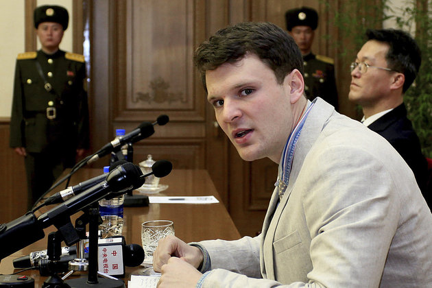 FILE - In this Feb. 29, 2016, file photo, American student Otto Warmbier speaks as he is presented to reporters in Pyongyang, North Korea. North Korea's highest court on Wednesday, March 16, 2016, sentenced Warmbier, who allegedly attempted to steal a propaganda banner from a restricted area of his hotel, to 15 years of hard labor in prison. (AP Photo/Kim Kwang Hyon, File)
