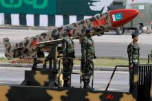 A Pakistani-made Cruise missile Ra'ad is loaded on a trailer rolls down during a military parade to mark Pakistan's Republic Day in Islamabad, Pakistan, Wednesday, March 23, 2016. Pakistan's President praised his country's security forces and pledged to continue the fight against terrorism, speaking at a rally during a national holiday. During the rally, attended by several thousand people, Pakistan displayed nuclear-capable weapons, tanks, jets, drones and other weapons systems. (AP Photo/Anjum Naveed)