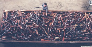 GUNS;SYDNEY;970728;PHOTOGRAPH BY DEAN SEWELL;SMH;NEWS;PHOTOGRAPH SHOWS SOME OF 4000 GUNS THAT ARE ABOUT TO BE DESTROYED AFTER BEING BOUGHT BACK IN THE GOVERNMENTS BUY BACK SCHEME.