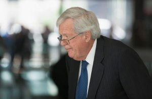 "CHICAGO, IL - JUNE 09: Former Republican Speaker of the House Dennis Hastert arrives for his arraignment at the Dirksen Federal Courthouse on June 9, 2015 in Chicago, Illinois. Hastert was in court to answer charges that he knowingly lied to the FBI and intentionally evaded federal reporting requirements involving bank transactions. Hastert is alleged to have withdrawn more than $1.5 million dollars in several installments from bank accounts to make payments to an ""Individual A"" to cover-up sexual abuse that reportedly took place when Hastert was a teacher and wrestling coach at Yorkville High School. Since Hastert was charged, other reports of sexual abuse by Hastert have surfaced. (Photo by Scott Olson/Getty Images)"