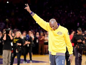 LOS ANGELES, CA - APRIL 13: Kobe Bryant #24 of the Los Angeles Lakers acknowledges the crowd before taking on the Utah Jazz in Bryant's final NBA game at Staples Center on April 13, 2016 in Los Angeles, California. NOTE TO USER: User expressly acknowledges and agrees that, by downloading and or using this photograph, User is consenting to the terms and conditions of the Getty Images License Agreement. (Photo by Harry How/Getty Images)