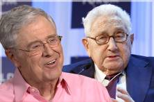 Charles Koch, Henry Kissinger (Credit: MSNBC/Reuters/Pascal Lauener/Photo montage by Salon)