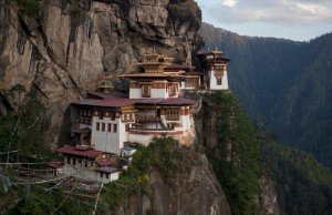 The ParoTaktsang Palphug Buddhist monastery, also known as the Tiger's Nest, is photographed in Paro district, Bhutan on October 16, 2011. Picture taken on October 16. REUTERS/Adrees Latif (BHUTAN - Tags: RELIGION TRAVEL)