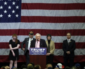 Carl Paladino speaks before a rally for Republican presidential candidate Donald Trump at Griffiss International Airport on Tuesday, April 12, 2016, in Rome, N.Y.