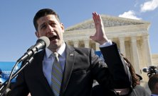 U.S. Speaker of the House Paul Ryan speaks demonstrators outside the U.S. Supreme Court on the morning the court takes up a major abortion case focusing on whether a Texas law that imposes strict regulations on abortion doctors and clinic buildings interferes with the constitutional right of a woman to end her pregnancy in Washington March 2, 2016. REUTERS/Kevin Lamarque