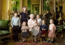 The Queen with her five great-grandchildren and her two youngest grandchildren that was taken in the Green Drawing Room, part of the Castle's semi-State apartments. (c) 2016 Annie Leibovitz
