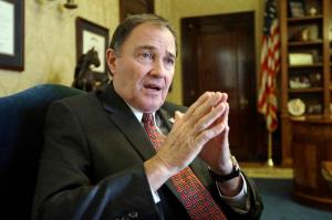 Utah Gov. Gary Herbert speaks during an interview Thursday, March 10, 2016, in Salt Lake City. Utah's 2016 legislative session will come to a close Thursday at midnight after 45 days of debating and passing roughly 500 bills. (AP Photo/Rick Bowmer)