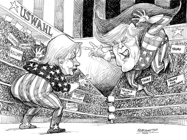 karikatur für tribüne- wrestling