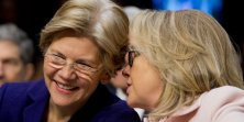 "Senator Elizabeth Warren, a Democrat from Massachusetts, left, and U.S. Secretary of State Hillary Clinton talk during a Senate Foreign Relations Committee nomination hearing in Washington, D.C., U.S., on Thursday, Jan. 24, 2013. Senator John Kerry stressed the need to prevent Iran from acquiring nuclear weapons. He described the ""immediate, dangerous challenges"" facing the nation as he seeks confirmation to become secretary of state. Photographer: Andrew Harrer/Bloomberg via Getty Images"