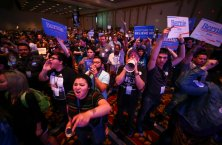 Supporters of Democratic presidential candidate Bernie Sanders react as U.S. Sen. Barbara Boxer, D-Calif., speaks during the Nevada State Democratic PartyÕs 2016 State Convention at the Paris hotel-casino in Las Vegas on Saturday, May 14, 2016. Chase Stevens/Las Vegas Review-Journal Follow @csstevensphoto