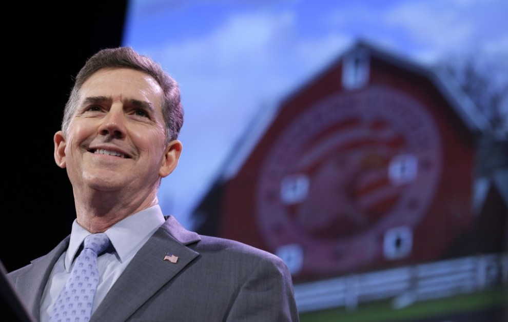 Former South Carolina Sen. Jim DeMint, president of the Heritage Foundation, speaks during the Freedom Summit, Saturday, Jan. 24, 2015, in Des Moines, Iowa.