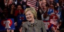Democratic U.S. presidential candidate and former U.S. Secretary of State Hillary Clinton smiles as she speaks to supporters during her five state primary night rally held in Philadelphia, Pennsylvania , U.S., April 26, 2016.   REUTERS/Charles Mostoller