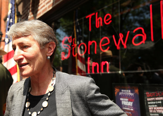 NEW YORK, NY - MAY 30: Secretary of the Interior Sally Jewell speaks to the media in front of The Stonewall Inn announcing a new National Park Service initiative intended to identify places and events associated with the civil rights struggle of lesbian, gay, bisexual, and transgender (LGBT) Americans on May 30, 2014 in New York City. The initiative is part of the Obama Administration's effort for the National Park Service to join other agencies in helping to better explain the complex story of the people and events responsible for building this nation. The Stonewall Inn, an iconic bar in the New York's gay rights movement, is the site of a symbolic riot in 1969 that is widely recognized as a catalyst for the modern civil rights movement in the gay rights community. (Photo by Spencer Platt/Getty Images)