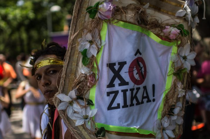 Revelers wearing Greek style costumes raise awareness of the need to prevent the spread of the Zika virus in the first carnival ''Bloco'' (street parade group) under the theme ''Rio: The Olympics are here'' on the streets of Rio de Janeiro, Brazil on January 23, 2016. AFP PHOTO/Christophe SIMON / AFP / CHRISTOPHE SIMON (Photo credit should read CHRISTOPHE SIMON/AFP/Getty Images)
