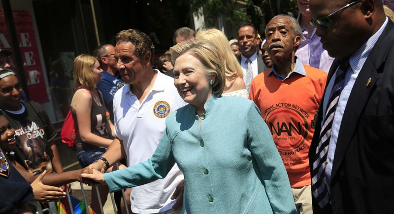 Hillary Clinton marches in the NYC Pride Parade in New York on Sunday. | AP Photo