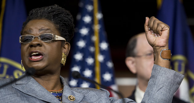 UNITED STATES - JUNE 4: Rep. Gwen Moore, D-Wisc., speaks during a press conference with House Democrats on the Export-Import Bank in the Capitol on Thursday, June 4, 2015. (Photo By Bill Clark/CQ Roll Call)