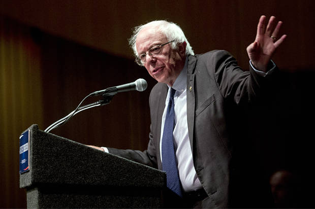 "Democratic presidential candidate Sen. Bernie Sanders, I-Vt., delivers his ""Where We Go From Here"" speech on Friday, June 24, 2016, in Albany, N.Y. (AP Photo/Mike Groll)"