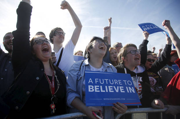 Supporters cheer as they wait for Democratic U.S. presidential candidate Bernie Sanders to arrive at a campaign rally in Salt Lake City, Utah March 18, 2016. REUTERS/Jim Urquhart - RTSB5AY