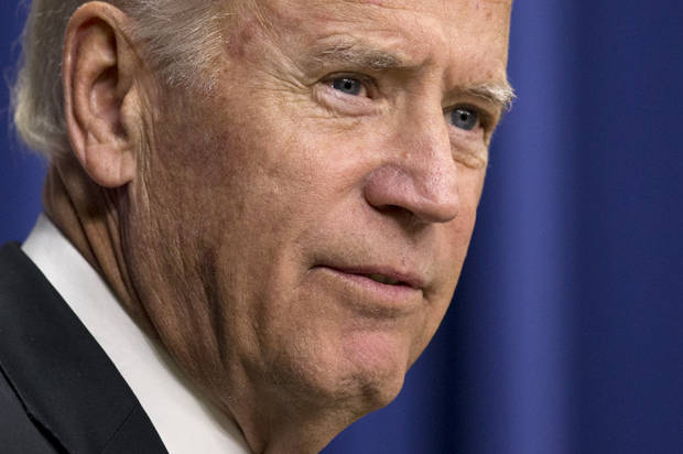 "Vice President Joe Biden speaks at the ""Summit on Climate and the Road through Paris: Business & Science Coming Together"" in the Eisenhower Executive Office Building on the White House complex in Washington, Monday, Oct. 19, 2015. (AP Photo/Manuel Balce Ceneta)"