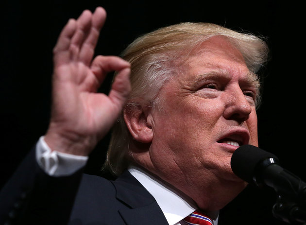 ASHBURN, VA - AUGUST 02: Republican presidential nominee Donald Trump speaks to voters during a campaign event at Briar Woods High School August 2, 2016 in Ashburn, Virginia. Trump continued to campaign for his run for president of the United States. (Photo by Alex Wong/Getty Images)