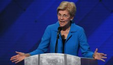 PHILADELPHIA, PA - JULY 28: Senator Elizabeth Warren of Massachusetts addresses the crowd during the final day of the Democratic National Convention in Philadelphia on Thursday, July 28, 2016. (Photo by Toni L. Sandys/The Washington Post via Getty Images)