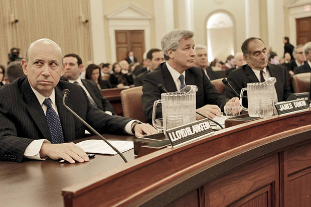 From left, Goldman Sachs Group, Inc. Chairman and Chief Executive Officer Lloyd Blankfein; JPMorgan Chase & Company Chairman and Chief Executive Officer James Dimon; Morgan Stanley Chairman John Mack, and Bank of America Corporation Chief Executive Officer and President Brian Moynihan, testify on Capitol Hill in Washington, Wednesday, Jan. 13, 2010, before the Financial Crisis Inquiry Commission, (AP Photo/Pablo Martinez Monsivais)