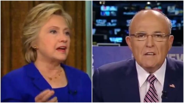 Rudy Giuliani tried to push the Trump conspiracy theory about Hillary Clinton's health, but he was quickly squashed by the Clinton campaign.