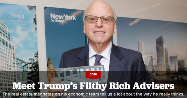 The real estate magnates on his economic team tell us a lot about the way he really thinks.