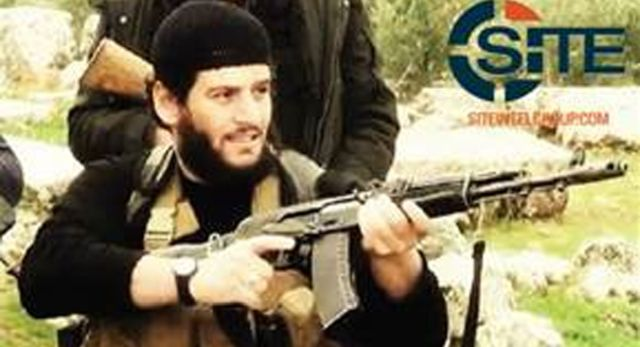 """This undated militant image provided by SITE Intel Group shows Abu Muhammed al-Adnani, the Islamic State militant group's spokesman who IS say was """"martyred"""" in northern Syria. 