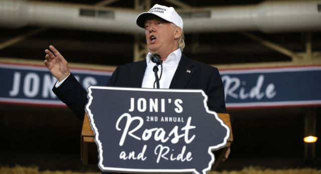 Donald Trump speaks at Joni Ernst's Roast and Ride at the Iowa State Fairgrounds, in Des Moines, Iowa, on Aug. 27. | AP Photo