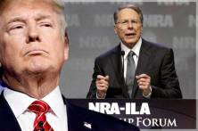 Donald Trump; Wayne LaPierre (Credit: AP/Rick Wilking/Reuters/John Sommers II/Photo montage by Salon)