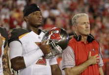 Tampa Bay Buccaneers quarterback Jameis Winston (3) and head coach Dirk Koetter before an NFL game on Friday, Aug. 26, 2016. CREDIT: CHRIS O'MEARA, AP