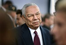 """Retired Chairman of the Joint Chiefs of Staff and former Secretary of State, Gen. Colin Powell gives interviews with the media on the """"Red Carpet"""" during the world premiere of the movie Fury at the Newseum in Washington D.C. (Department of Defense photo by Marvin Lynchard)"""