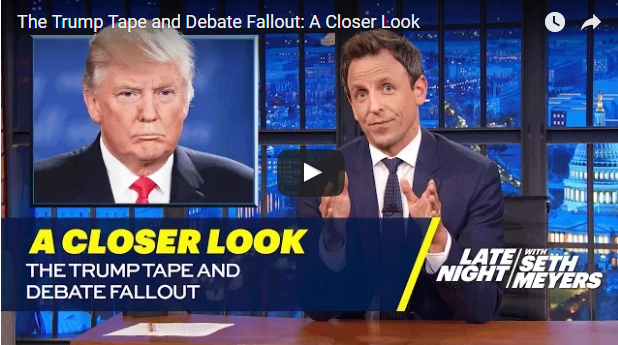 """Seth Meyers hits Donald Trump as a pervert who thinks he """"deserves hugs for getting off a bus"""""""