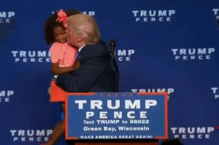 Donald Trump thought it would be a great idea to change his image by kissing a young African-American girl on stage during his rally in Wisconsin. The result was creepy on every level imaginable.