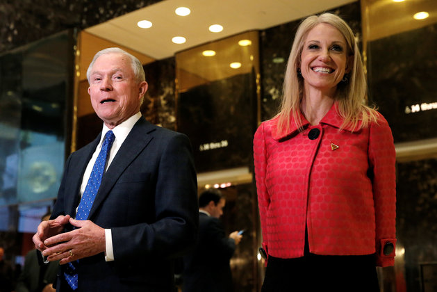 United States Senator Jeff Sessions (R-AL), an advisor to U.S. President Elect Donald Trump, speaks to members of the media alongside Trump's senior advisor Kellyanne Conway in the lobby of Trump Tower in the Manhattan borough of New York City, November 17, 2016. REUTERS/Mike Segar