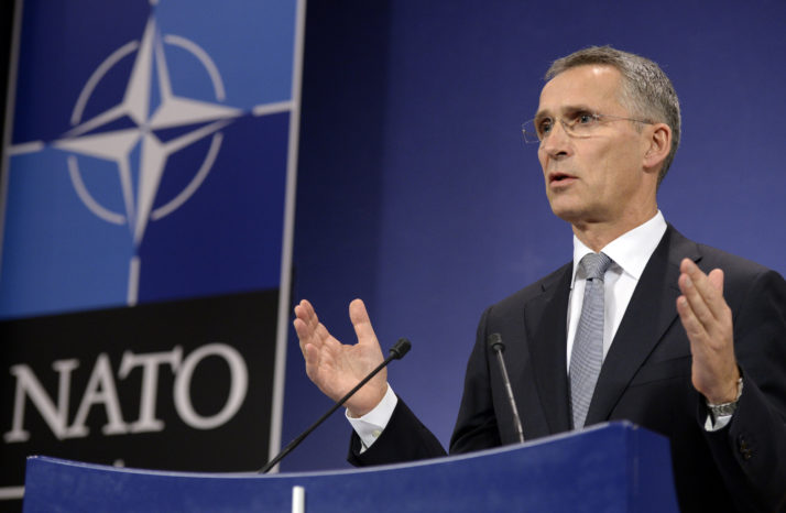 NATO Secretary-General Jens Stoltenberg delivers a press conference after a NATO defence ministers' meeting at the NATO headquarters in Brussels on October 27, 2016. / AFP / THIERRY CHARLIER (Photo credit should read THIERRY CHARLIER/AFP/Getty Images)