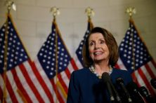 U.S. House of Representatives Democratic Leader Nancy Pelosi speaks to reporters after she was re-elected to her post on Wednesday, despite a challenge from Rust Belt congressman Tim Ryan who said the party needed new leadership, on Capitol Hill in Washington, U.S., November 30, 2016. REUTERS/Kevin Lamarque
