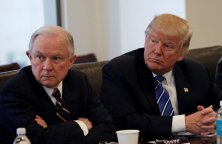 Republican presidential nominee Donald Trump sits with U.S. Senator Jeff Sessions (R-AL) (L) and retired U.S. Army General Keith Kellogg (R) during a national security meeting with advisors at Trump Tower in Manhattan, New York, U.S., October 7, 2016. REUTERS/Mike Segar
