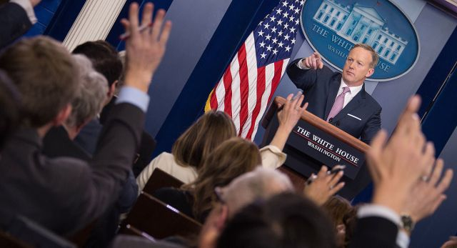 """""""There's a big difference from what a lot of the media elite saw and what a lot of the rest of the country saw Saturday,"""" Press secretary Sean Spicer said.   Getty"""