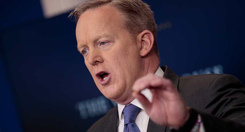 Sean Spicer criticized journalists for becoming too opinionated, only writing negative stories, and making factual errors that he said undercut the entire profession. | Getty